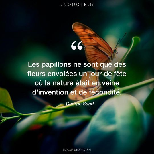 Image d'Unsplash remixée avec citation de George Sand.