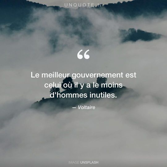 Image d'Unsplash remixée avec citation de Voltaire.