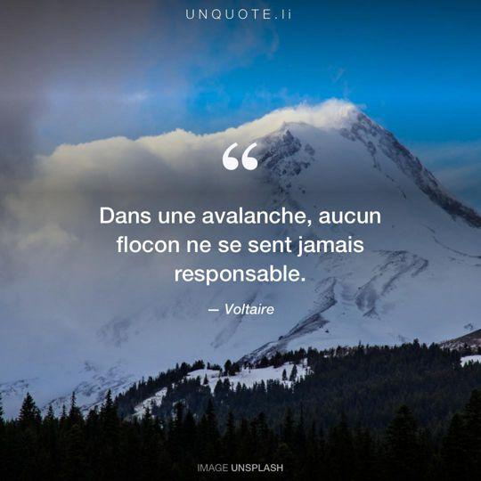 Image d'Unsplash remixée avec citation de Voltaire.
