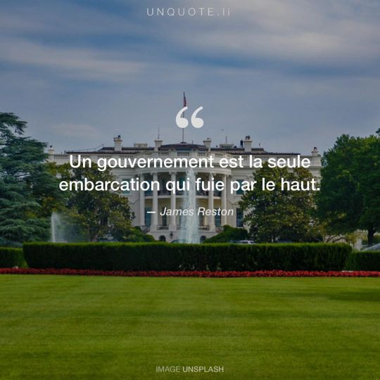 Image d'Unsplash remixée avec citation de James Reston.