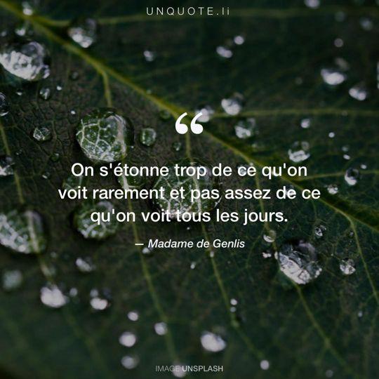Image d'Unsplash remixée avec citation de Madame de Genlis.