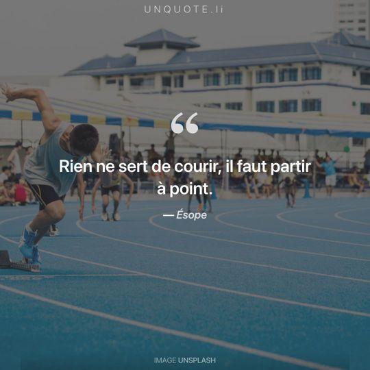 Image d'Unsplash remixée avec citation de Ésope.