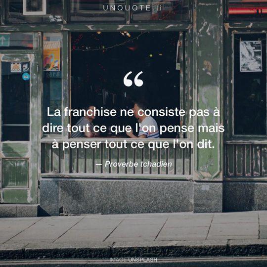 Image d'Unsplash remixée avec Proverbe tchadien.
