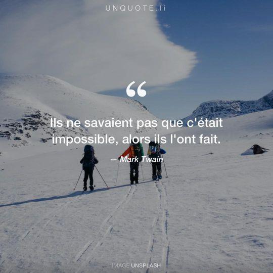 Image d'Unsplash remixée avec citation de Mark Twain.