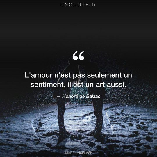 Image d'Unsplash remixée avec citation de Honoré de Balzac.